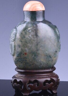 FINE 19c CHINESE CARVED MOSS AGATE HARDSTONE SNUFF BOTTLE ORANGE CORAL LID STAND
