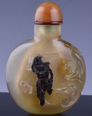 Nice Antique Chinese Carved Shadow Agate Stone Figural Landscape Snuff Bottle