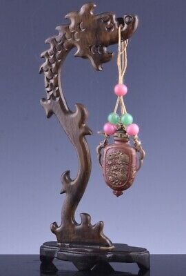SUPERB 19THC CHINESE GOLD GILT BRONZE DRAGON HANDLE SNUFF BOTTLE w DRAGON STAND