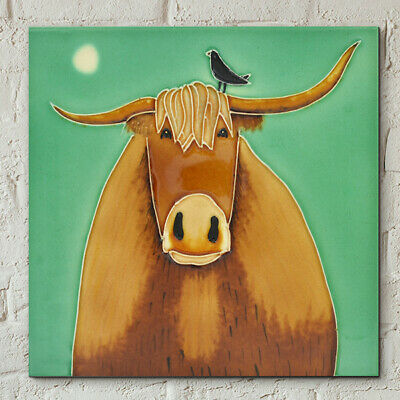 "Broon Coo Decorative Ceramic Tile By Ailsa Black 8x8"" Wall Plaque Gift 40507"