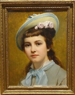 "19th Century German Society Girl Portrait ""Olga"" by Paul THUMANN Antique Oil"
