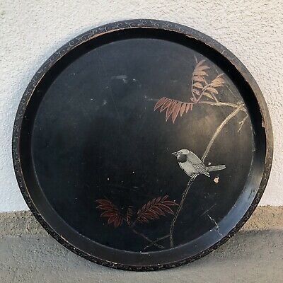 LARGE Antique Chinese Japanese Tea Tray Charger Plate Painted Scholar Art Bird