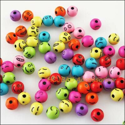 80 New Charms Colors Mixed Loose Round Ball Acrylic Faces Spacer Beads 8mm