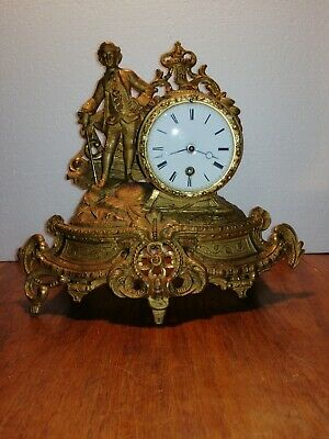 Japy Freres - Antique - French Gilt Spelter Figural Clock With key