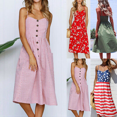 UK Womens Holiday Strappy Button Pocket Button Front Beach Midi Swing Sundress