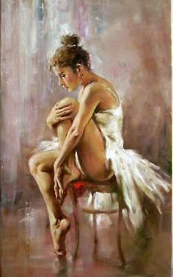 CHOP117 ballet girl have a rest on chair handmade oil painting art on canvas