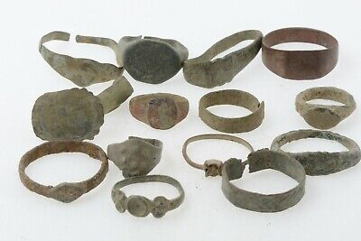 Lot of 14 Roman to Byzantine bronze rings 100-800 AD #3