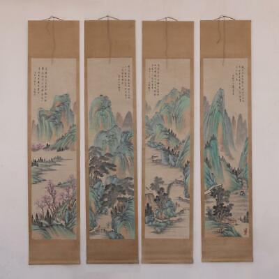 Very Rare Old Four Chinese Hand Painting Scroll Feng Chaoran Marked (E241)