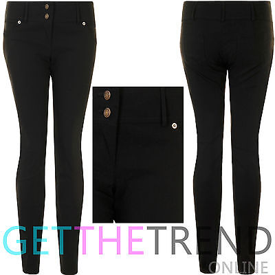 Girls Black Trousers Back to School Work Office Pocket Trousers Stretchy Pants