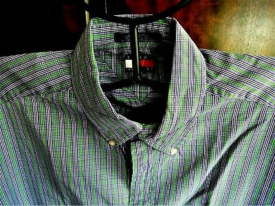 Lovely Quality TOMMY HILFIGER COTTON  SHIRT - LARGE : Blue, Green, White CHECK