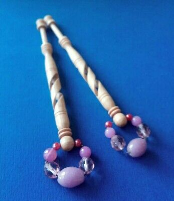 Pair Wood Lace Bobbins. Open Spiral Hollow Turned. Original Pink Spangles.