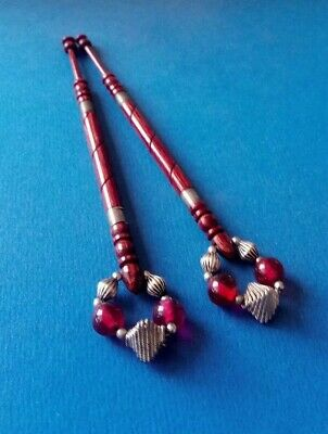 Pair Red Wood Lace Bobbins.Turned & Silver Colour Wired. Spangles.
