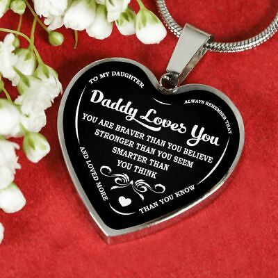 To My Daughter Pendants - Daddy Loves You - Silver Heart Necklace - From Father