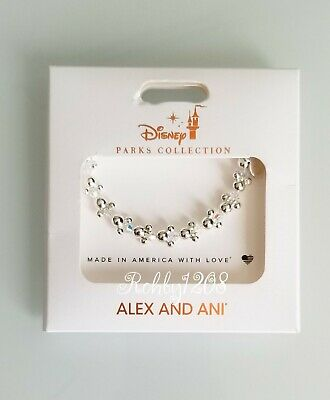 Disney ALEX & ANI Mickey & Minnie Icon Silver Toned Bangle Bracelet