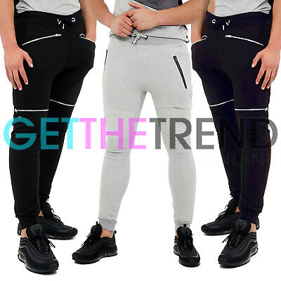 Mens Skinny Joggers Slim Fit Trousers Tracksuit New Jogging Bottom Sweat Pants