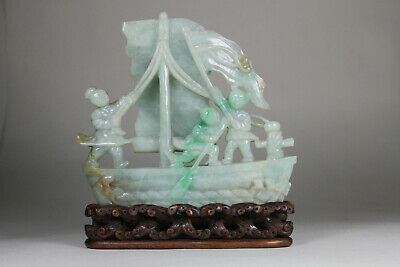 Antique Chinese Qing 19thC Carved Jadeite Boat on Hardwood Stand Figures Jade