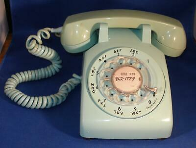 Vintage Western Electric Aqua Blue Turquoise ROTARY Desk Top Phone c1970's
