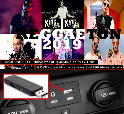 2018-2019 Reggaeton 268 Music Videos in mp4-video format on 16GB USB FLASH DRIVE