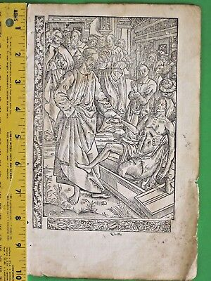 Rare Paper BoH Miniature,Jesus revives Lazarus,deco Border scenes,etc.ca.1515