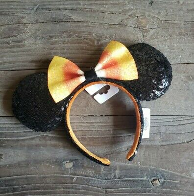 Disney Parks 2019 Halloween Candy Corn Bow Minnie Mouse Ears Ear Headband NEW