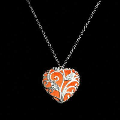 Women Hollow Heart Luminous Glow In The Dark Pendant Necklace Jewelry Party Gift
