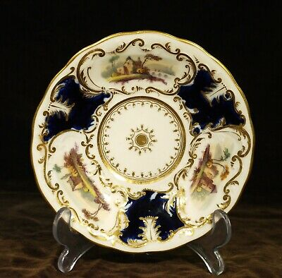 19th Century Antique China Saucer Painted with Landscape Panels.