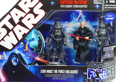 The Force Unleashed Palpatine & 2 Shadow Stormtrooper Star Wars Tac 2007 Hasbro