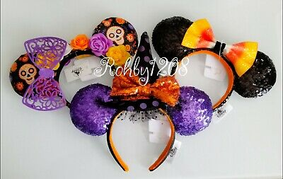 Disney Parks 2019 Halloween Coco Minnie Witch Candy Corn Ears Headband Set NEW