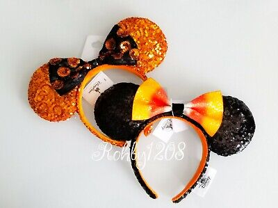 Disney Parks 2019 Halloween Candy Corn Bow Minnie Mouse Ears Ear Headband Set