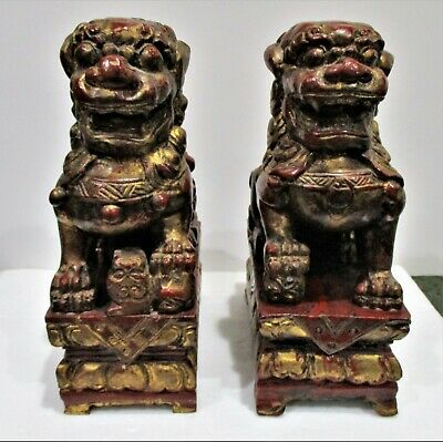 Vintage Pair of Wood Carved Chinese Foo Dogs - Burgundy and Gold