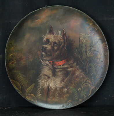 "Antique 19th Century Oil On Plate ""Portrait of Terrier"""