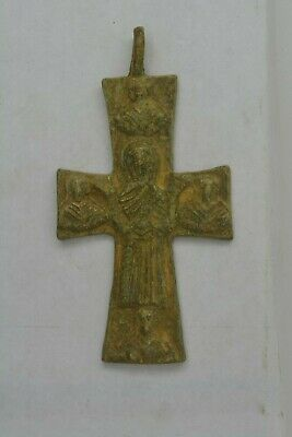 Byzantine bronze CROSS Virgin Mary raised hands & saints 600 AD