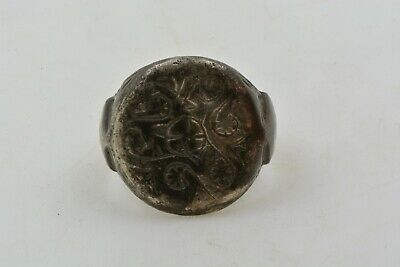 Medieval Knights Templar Seal Silver Ring CROSS Crusader Times 12th C size 7