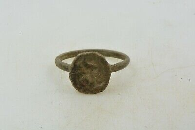 Antique Roman Byzantine Medieval Billon ring 100-1200 AD #21 Size 5 1/2 Cross