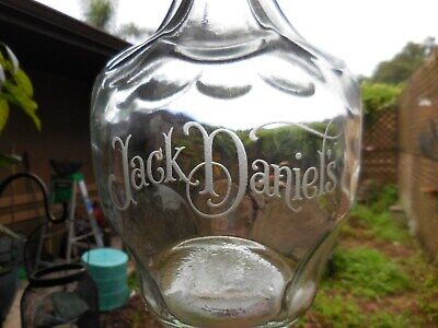 Vintage Jack Daniels BELLE OF LINCOLN Etched Glass Empty Liquor Bottle Decanter