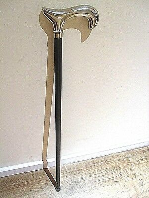 "Silver Chrome Wooden Walking Stick Derby Top Cane Black Wood Cane 36 3/4"" Stick"