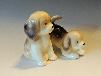 2 - Puppy Figurines Gray & White Porcelain - Japan - Mint