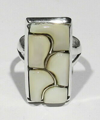 Big Vintage Signed Zuni Natural High Raised Inlay Mother Pearl 925 Silver Ring 7