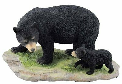 "Black Mama Bear and Baby Cub Gone Fishing Home Decor Figurine Statue 7/""H Resin"