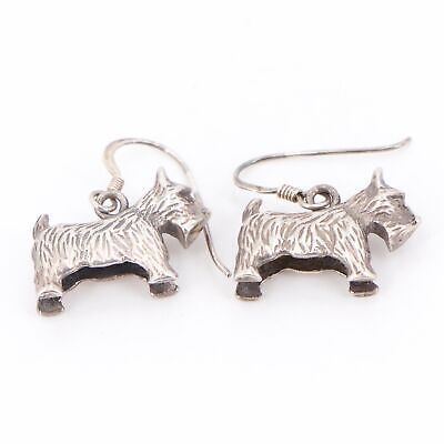 VTG Sterling Silver - Scottish Terrier Scotty Dog Dangle Earrings - 7.5g