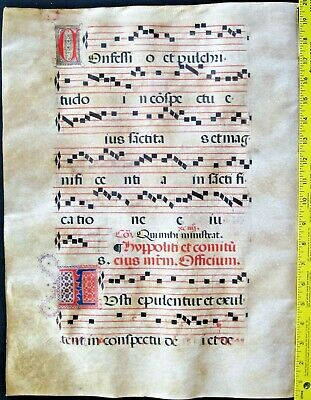 Lg.liturgical Music Manuscript,Antiphonary Lf, on Vellum,handptd.Initials,c.1500