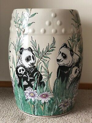 "Large Vtg Chinese Porcelain Painted Panda 18"" Garden Stool End Table Pair"