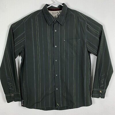 QUICKSILVER MENS LARGE Button Front Shirt Gray Striped Long Sleeve