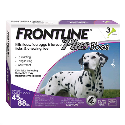 Frontline Plus for Large Dogs (45 to 88 pounds) Flea and Tick Treatment, 3-Doses