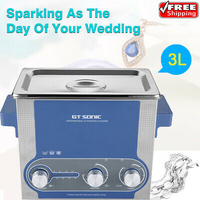 GT SONIC 3L Ultrasonic Cleaner Heating Timer Professional Cleaning Machine EU