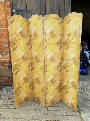 Antique 4 Panel Folding Privacy Screen / Room Divider