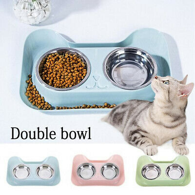 Double-Bowl Stainless Steel Pet Bowl Dog Cat Food Water Feeder Pet Dish Diner HQ