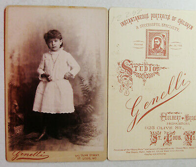 Cabinet Photo Pretty Girl Wearing Lovely White Dress Nice Backstamp St. Louis Mo