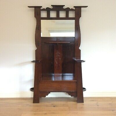 Tulip Arts & Crafts Hall Stand with Mirror and Seating. Circa 1890.