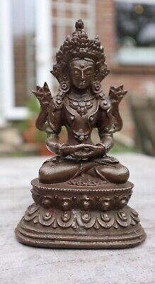 Chinese 18Th Century Bronze Amitayus Buddha Traces Of Gilt Qing Dynasty
